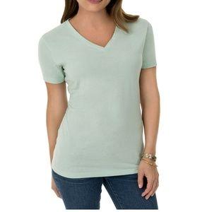 🎃 NWT Mint Green Time & Tru V-Neck T-Shirt 2X